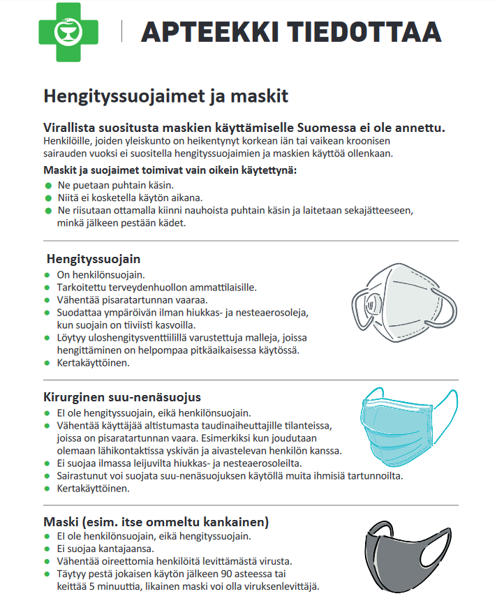 Hengityssuojainten ja maskien eroja